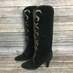 Vintage Yves Saint Laurent Black Suede Boots